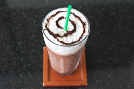 Ice chocolate on black marble table