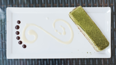 Green Tea  Cake on white plate  Stock Photo