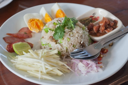 fry rice with the shrimp paste, Thai food  Stock Photo