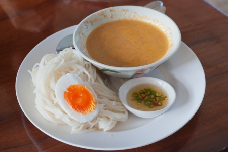 Rice vermicelli with curry thai food style  Stock Photo