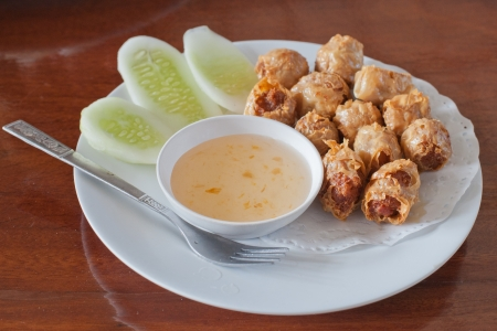 Deep-fried crab meat and minced pork,Chinese food Stock Photo