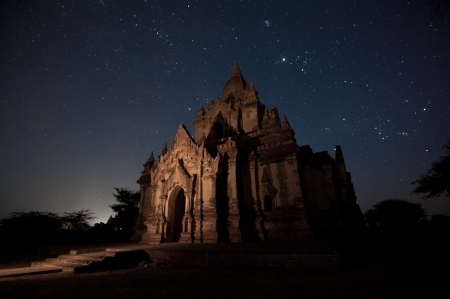 ancient temple in Bagan with night star , Myanmar  Stock Photo