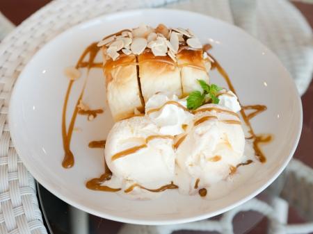 Honey Toast Ice Cream Stock Photo