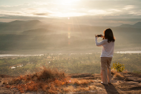 Chanadai hill in Pha Taem National Park ,Chanadai hill is famous for seeing sunrise first time in thailand.