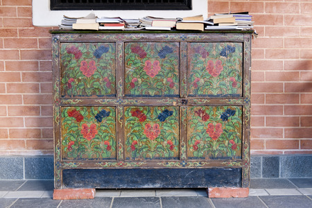 Old wooden cabinet ,Tibet style Stock Photo