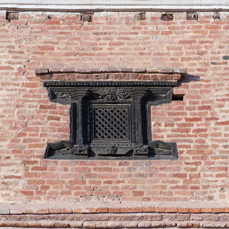 Window, wood on Woodcarving Museum building in Bhaktapur. Nepal.
