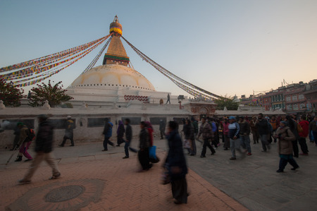 dome of hindu temple: Boudhanath Stupa in the Kathmandu valley, Nepal Editorial