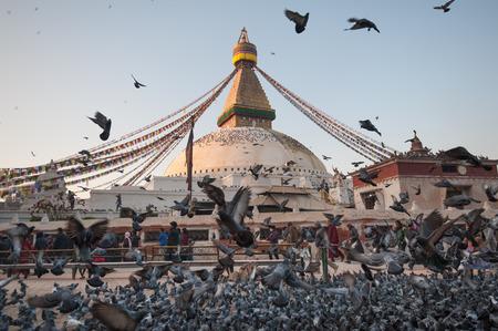 Boudhanath Stupa in the Kathmandu valley, Nepal Editorial