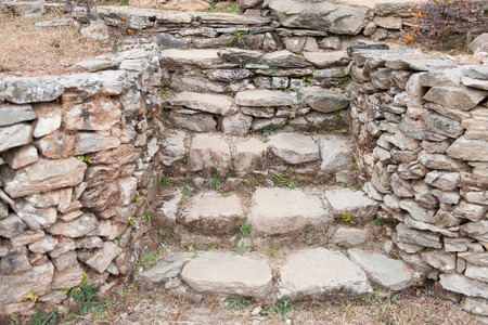 Stone staircase leading up a walkway