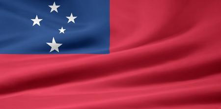 samoa: Flag of Samoa Stock Photo