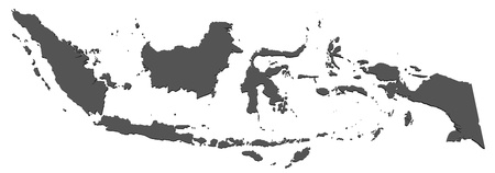 the borderline: Map of Indonesia Stock Photo