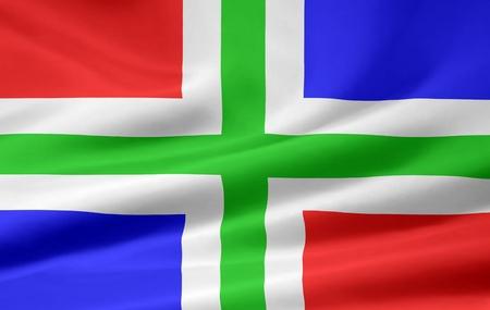 groningen: Flag of Groningen -Netherlands Stock Photo