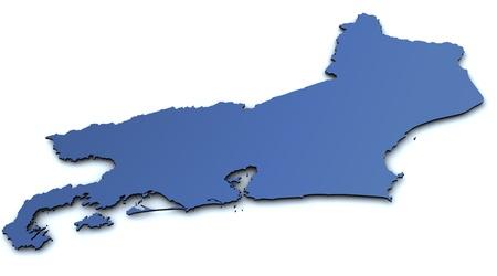 janeiro: Map of Rio de Janeiro - Brazil Stock Photo