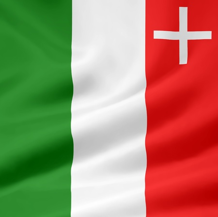 canton: Flag of Canton Neuchatel - Switzerland Stock Photo