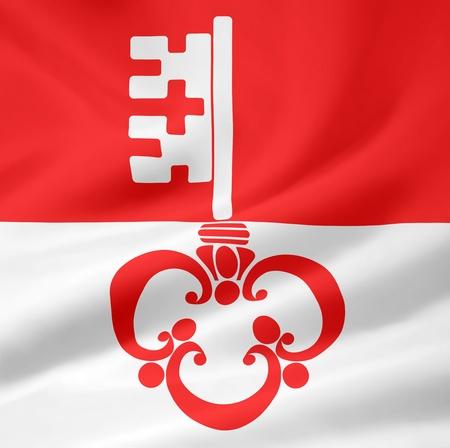 canton: Flag of Canton Obwalden - Switzerland Stock Photo