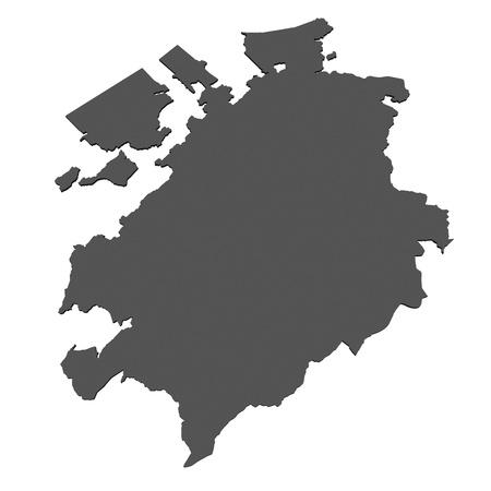 Isolated map of  Fribourg - Switzerland photo