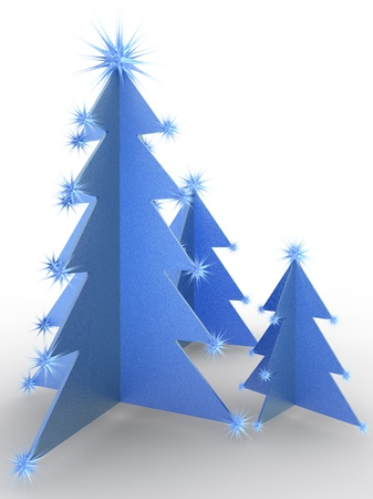 Rendered christmas tree in blue photo