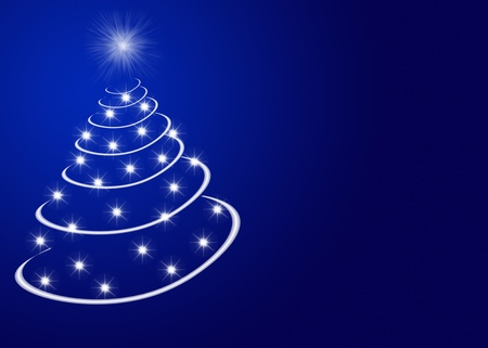 Abstract christmas tree made by stars Stock Photo