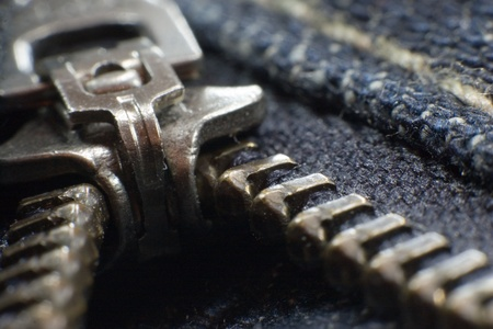Closeup of a jeans zipper Archivio Fotografico