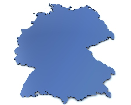 3d rendered blank map of Germany