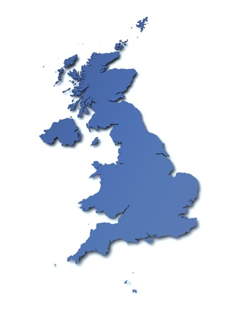 united kingdom: 3d rendered blank map of UK