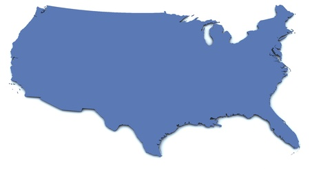 3d rendered blank map of the United States
