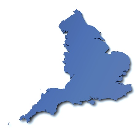borderline: 3d rendered blank map of England Stock Photo