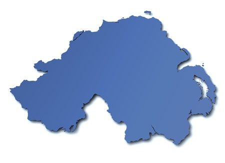 3d rendered blank map of Northern Ireland