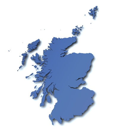 3d rendered blank map of Scotland Фото со стока