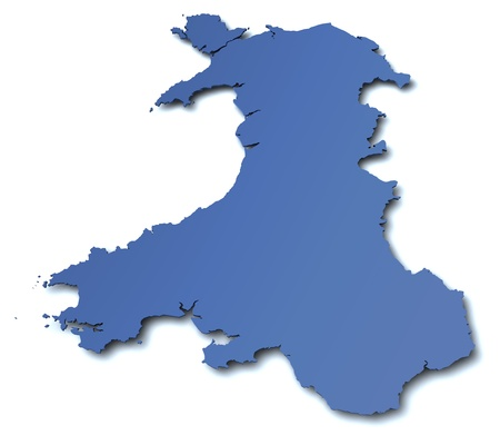 3d rendered blank map of Wales