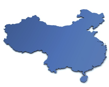 mapa china: 3d rindió mapa de China Foto de archivo