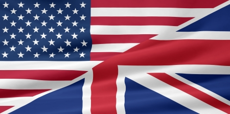 merged: US British flag Stock Photo