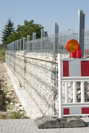 Construction Barrier for gabion wall