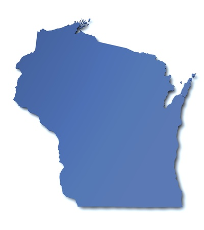 state of wisconsin: Map of Wisconsin - USA Stock Photo