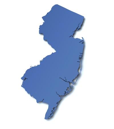 jersey: Map of New Jersey - USA Stock Photo