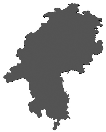 hesse: Isolated map of the state of Hesse - Germany