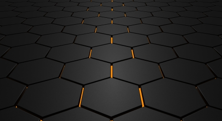 Glowing hexagon floor photo