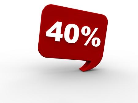 sales promotion: 40 percent rebate Stock Photo