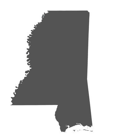 mississippi: Map of Mississippi - USA - nonshaded Stock Photo