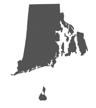 island state: Map of Rhode Island - USA - nonshaded Stock Photo
