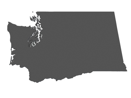 seattle: Map of Washington - USA - nonshaded