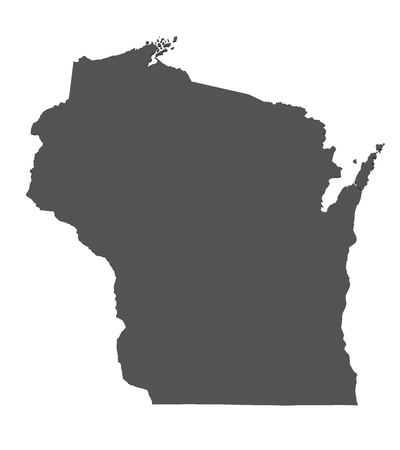 state of wisconsin: Map of Wisconsin - USA - nonshaded