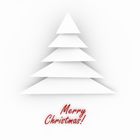 White abstract christmas tree on white background with merry christmas greeting Imagens