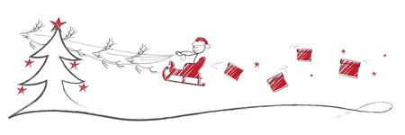 end of year: Flying Santa Illustration