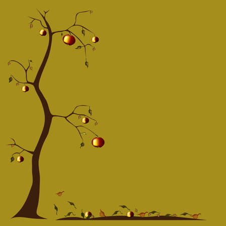 apfelbaum: Herbst Apfelbaum Illustration