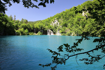 Mysterious blue paradise in Plitvice Lakes photo