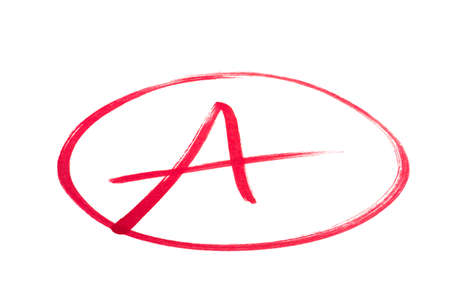 test result: A handwritten grade for an excellent achievementsin red ink  Isolated on white