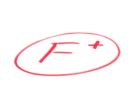 grade: A handwritten grade for failed achievements in red ink  Isolated on white