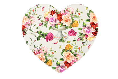 Heart with flowers on a white background  Stock Photo - 24385840