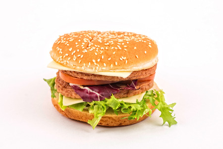 Big hamburger on white photo